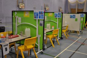 Covid test booths