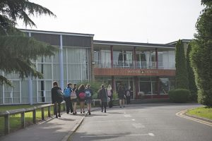 Students entering front of Myton School